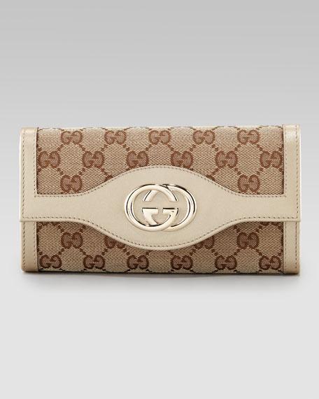 Sukey GG Flap Continental Wallet, Beige
