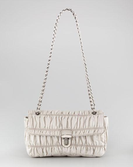 Push-Lock Gathered Nylon Shoulder Bag