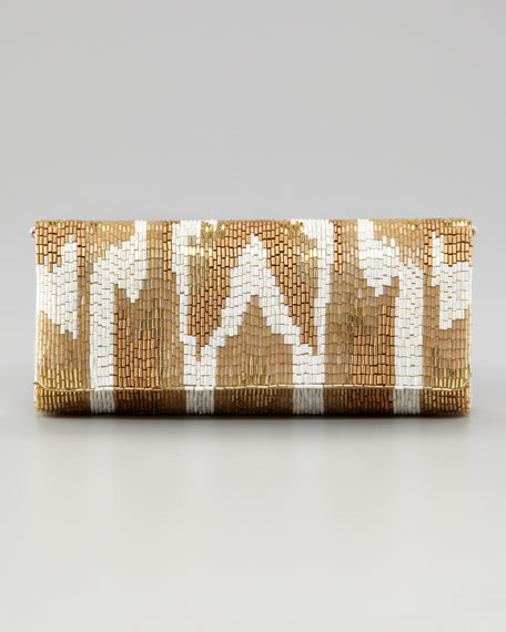 Metallic Ikat Beaded Clutch Bag