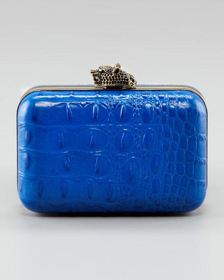 Marley Crocodile-Embossed Clutch Bag