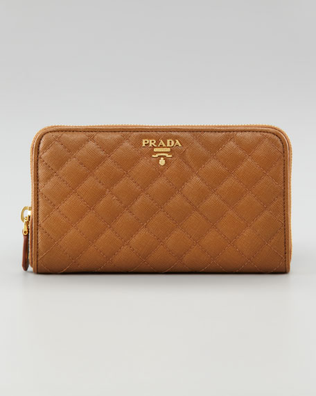Quilted Saffiano Zip Wallet