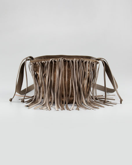 Skylar Fringe Bucket Bag, Small