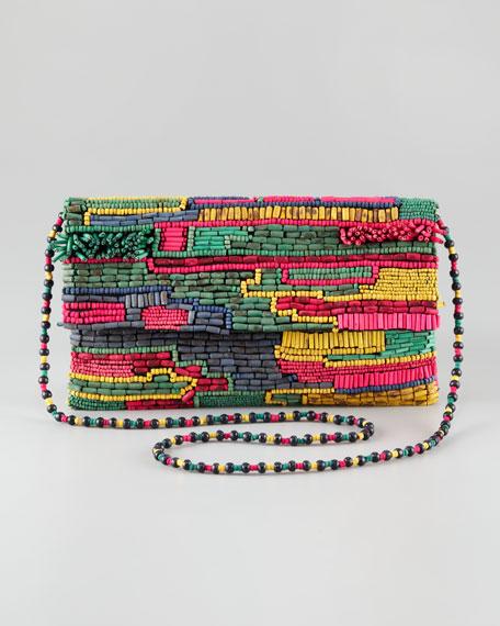 Multicolor Wooden-Bead Clutch Bag