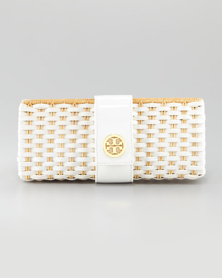 Tory Burch Woven Wicker & Patent Clutch Bag