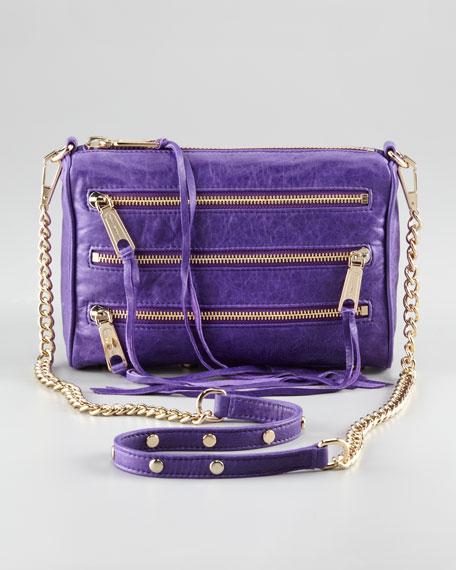 Zip-Front Leather Crossbody Bag