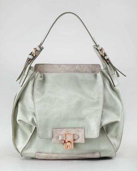 Valerie Flap-Front Hobo Bag, Mint/Cement