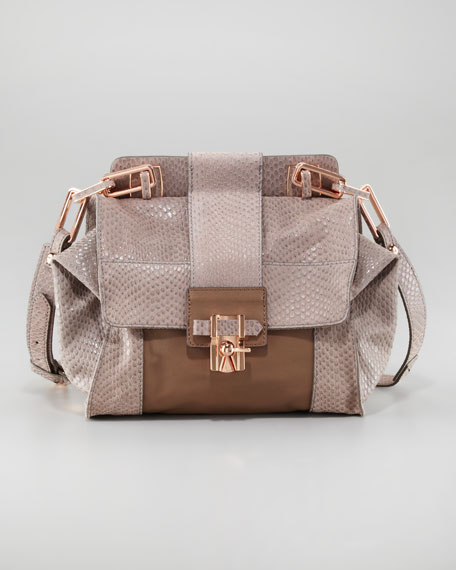 Noelle Snake-Embossed Flap Bag