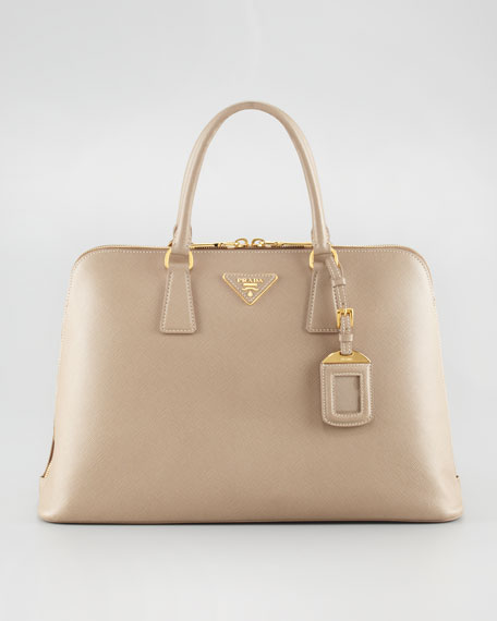 Saffiano Two-Way Zip Satchel Bag