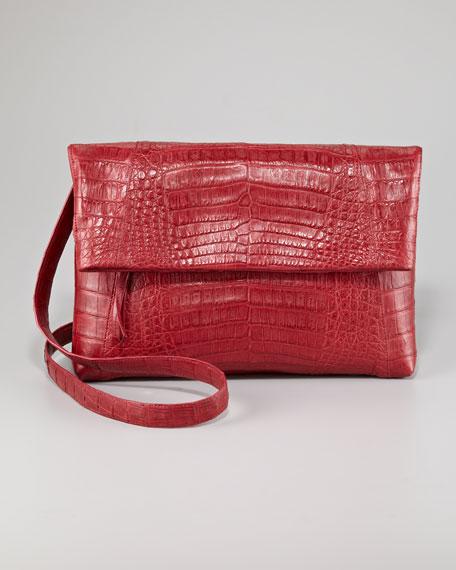 Crocodile Messenger Bag Fold-Over Clutch Bag