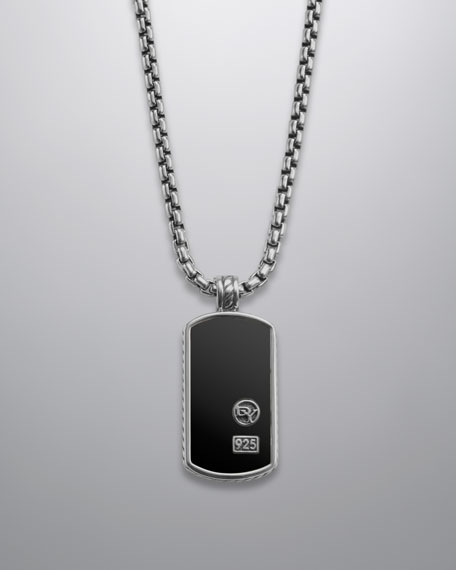 "Black Onyx DY Tag Necklace, 20""L"