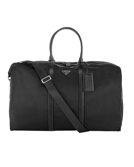 Nylon & Leather Duffel Bag