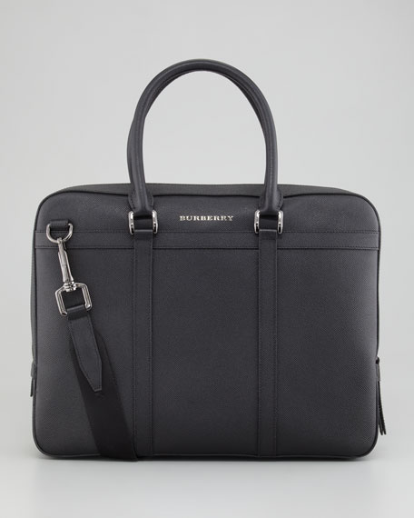 Saffiano Leather Briefcase, Black