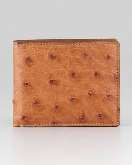 Ostrich Bifold Wallet, Light Brown