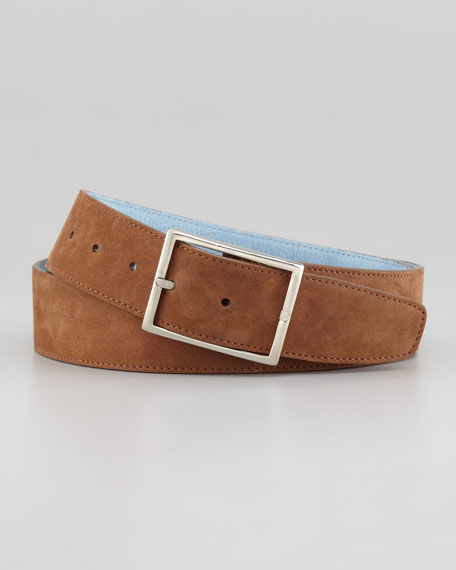 Suede Reversible Belt, Brown/Light Blue