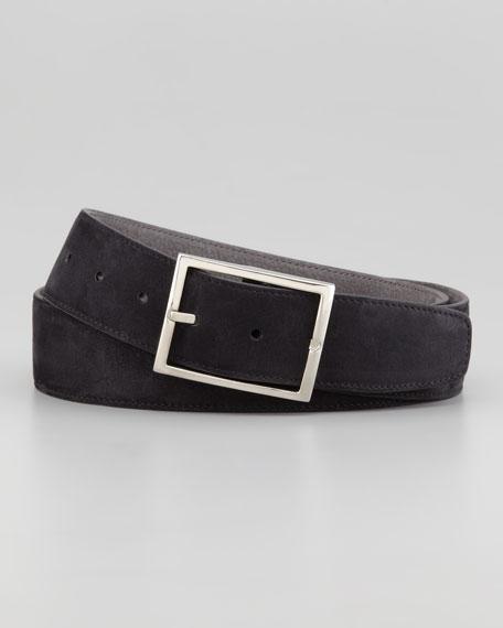 Suede Reversible Belt, Black/Gray