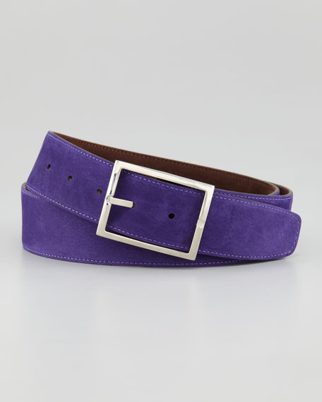 Suede Reversible Belt, Brown/Purple