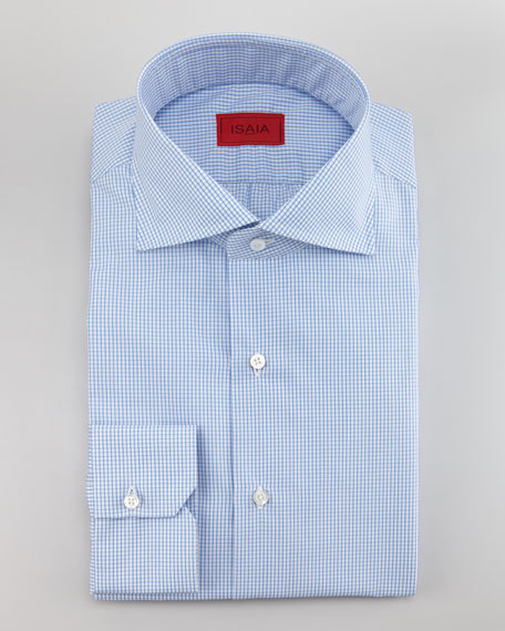 Mini Check Twill Shirt, Light Blue
