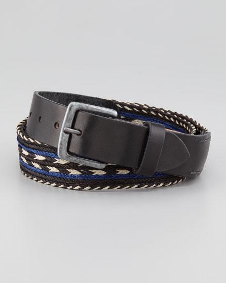 Arrow Horsehair Braided Belt, Blue