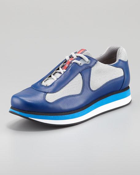 Tricolor Micro Sole Sneaker, Blue