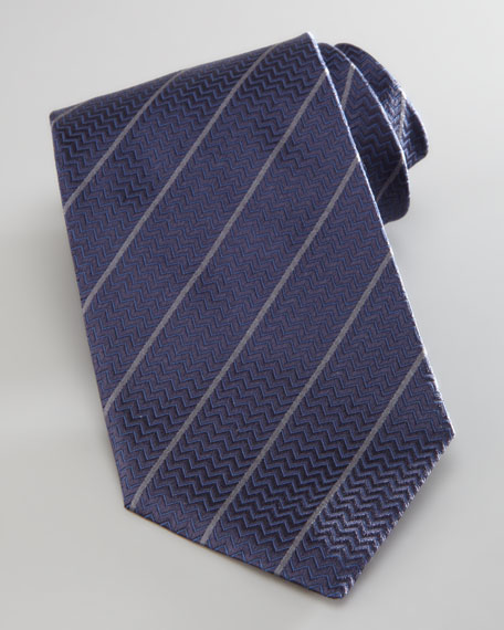 Diagonal Striped Chevron Tie, Navy