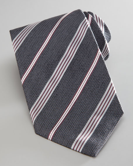 Textured Striped Tie, Gray