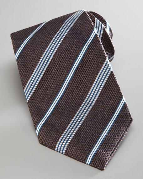 Textured Striped Tie, Brown