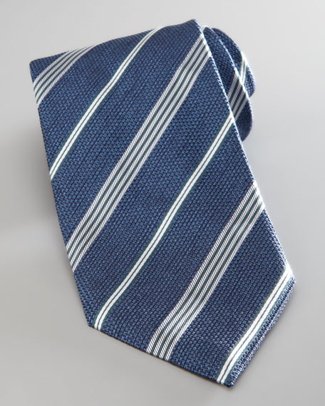 Textured Diagonal Striped Tie, Royal