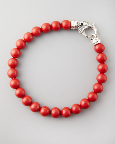 Beaded Red Coral Bracelet, 8mm