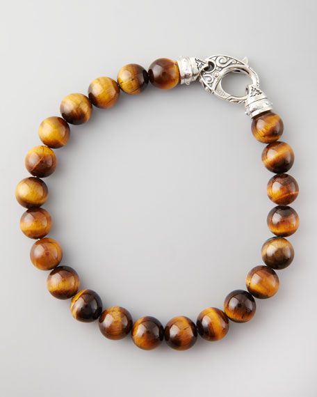 Beaded Tigers Eye Bracelet, 8mm