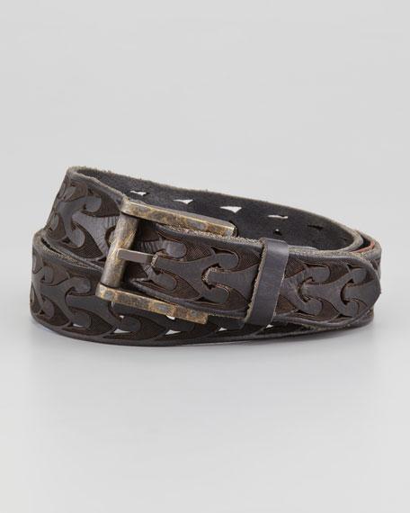 Giovanni Laser-Cut Leather Belt