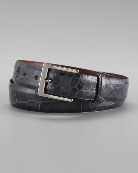 Glazed Alligator Belt, Gray