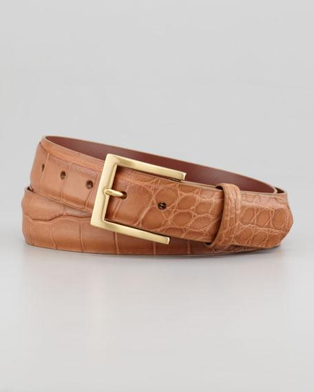 Matte Alligator Belt, Tan
