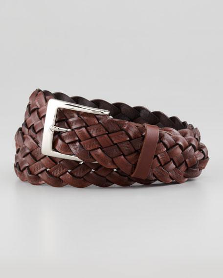 Braided Calfskin Belt, Cognac