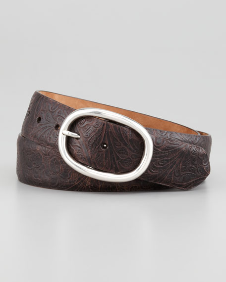 Tooled Calfskin Belt, Dark Brown