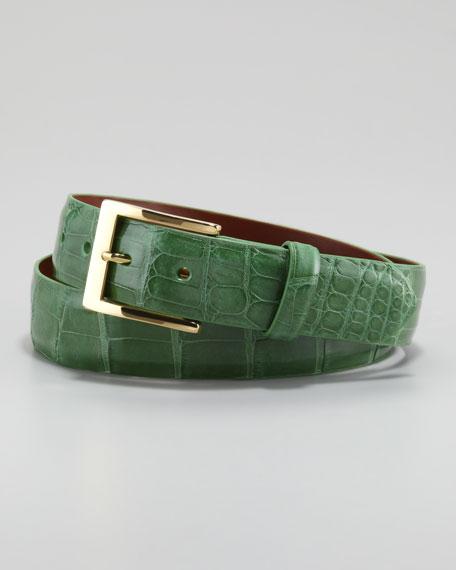 Glazed Alligator Belt, Green