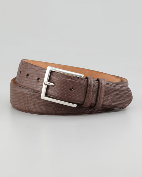 Matte Lizard Belt, Dark Brown