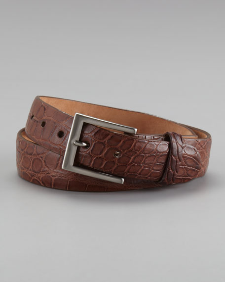 Matte Alligator Belt, Cognac