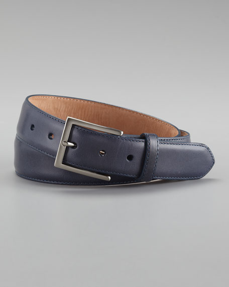 Glazed Calfskin Belt, Navy