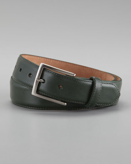 Glazed Calfskin Belt, Green
