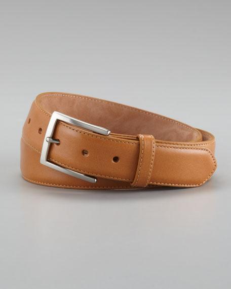 Glazed Calfskin Belt, Tan