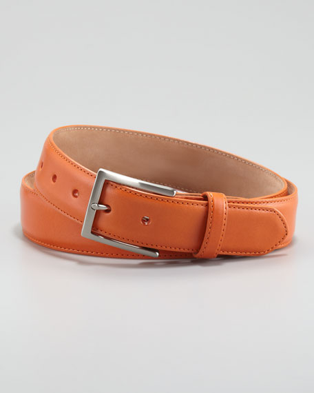 Glazed Calfskin Belt, Orange