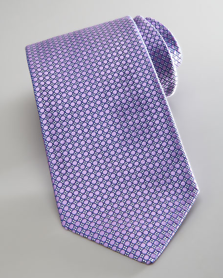Neat Solid Circles Tie, Lilac