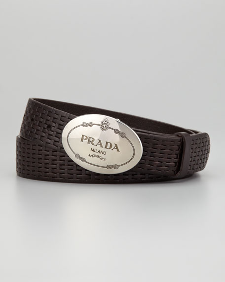 Stamped Leather Oval-Logo Buckle Belt, Brown