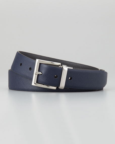 Saffiano Leather Reversible Belt, Navy/Gray