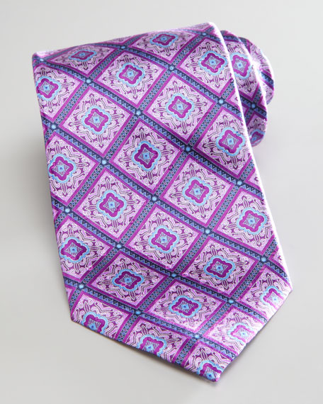 Diamond Medallions Tie, Purple