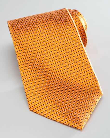 Micro-Circles Silk Tie, Orange