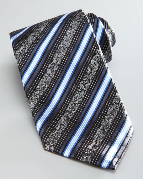 Filigree Stripe Tie, Charcoal