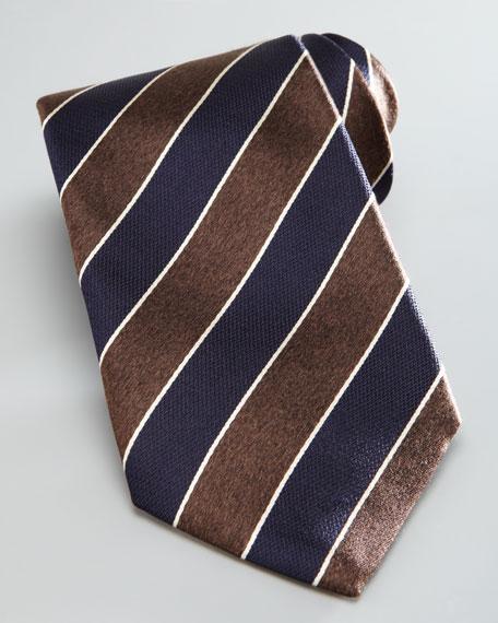 Melange Thick Stripe Tie, Brown