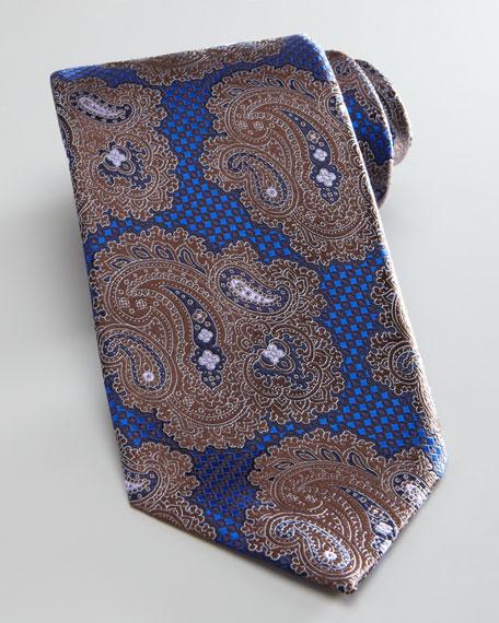 Paisley/Check Tie, Navy