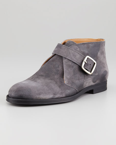 Distressed Monk Boot, Gray